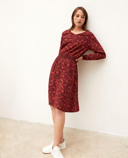 Vestido con elástico en la cintura Rojo