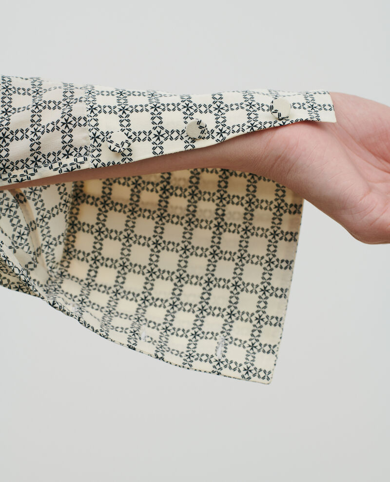 Prenda superior de seda estampada Check ecru Pabus