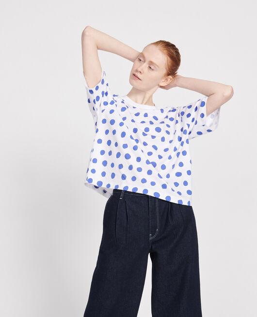 Camiseta boxy de algodón DOTS AMPARO BLUE