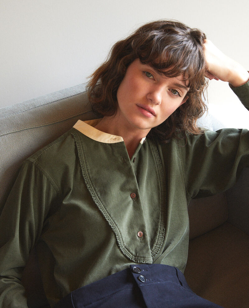 Camisa de terciopelo con cuello mao Verde Goisette