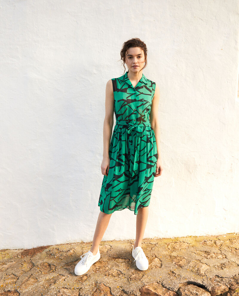 Vestido estampado Primitive lines green Icran