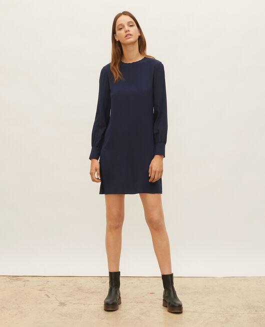 Vestido de seda amplio y corto MARITIME BLUE
