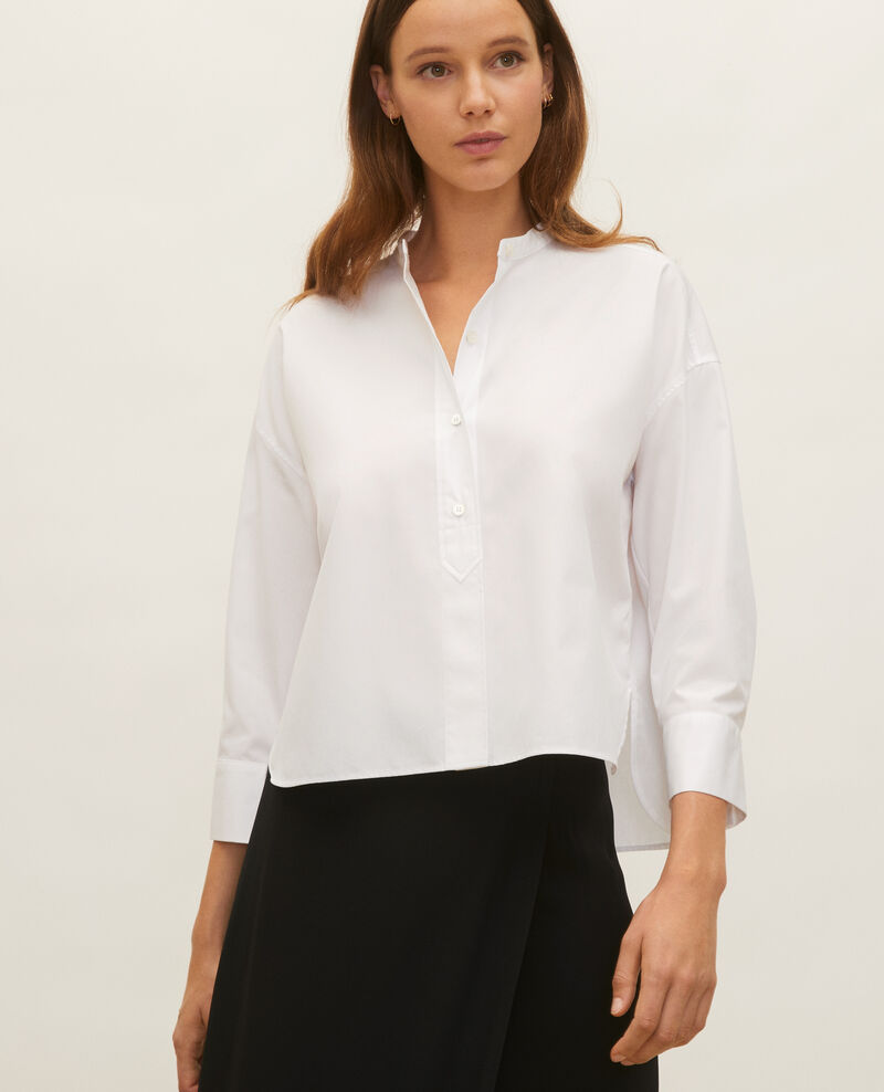 Camisa sin cuello de popelina de algodón. Optical white Lyringas