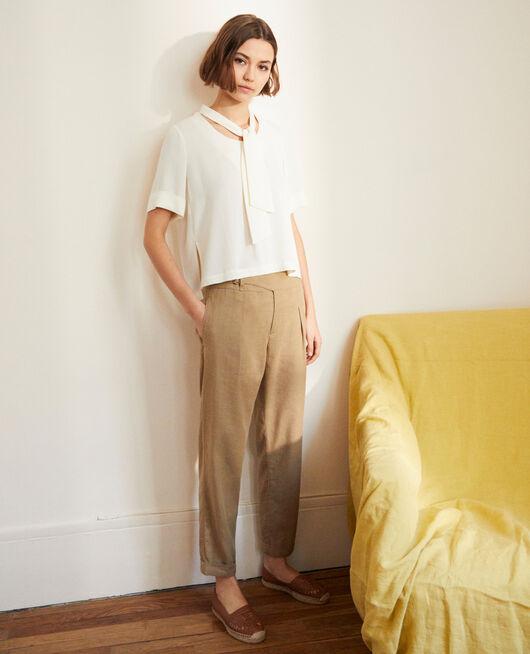 Pantalón con lino NATURAL BEIGE