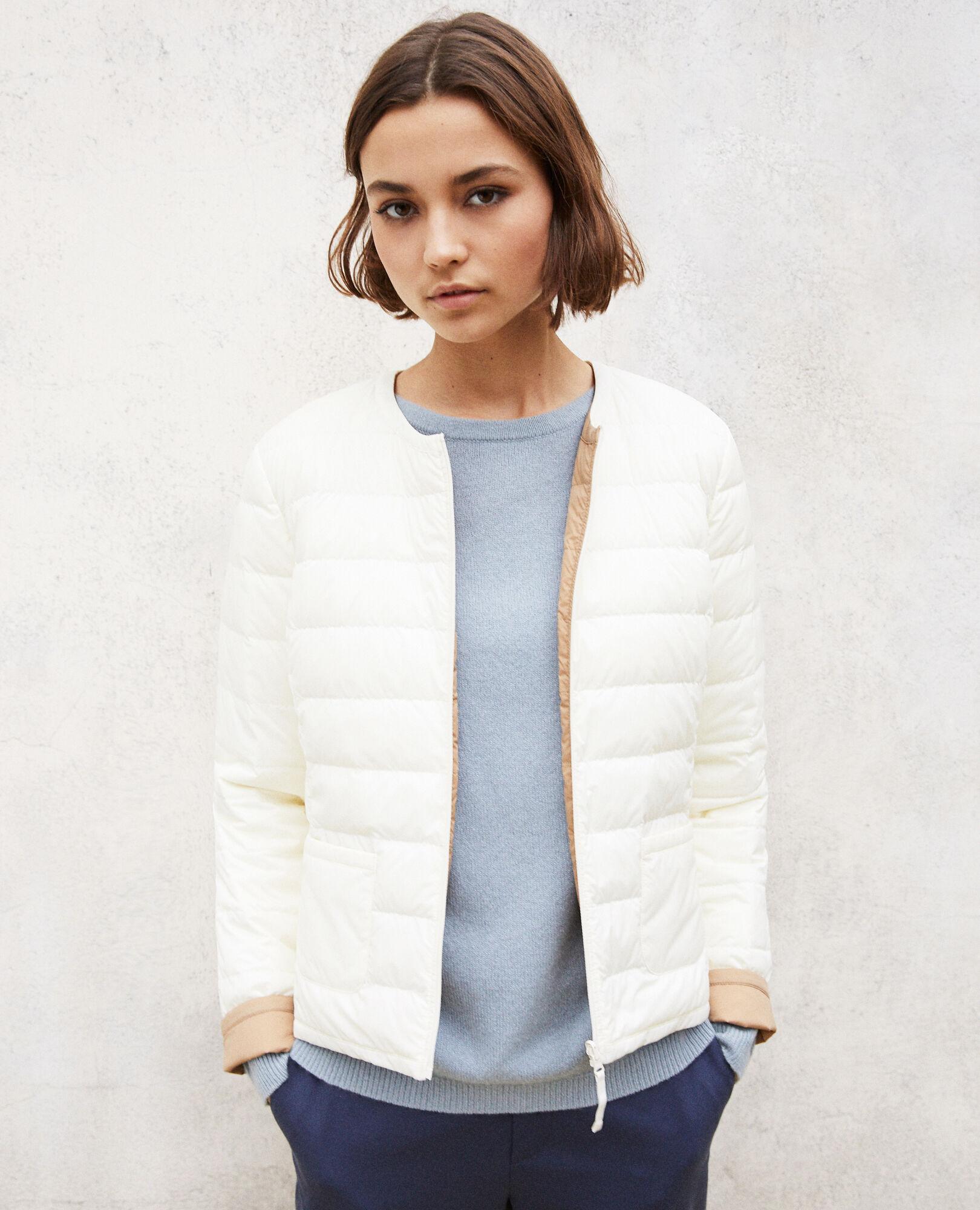 Abrigo plumas mujer beige