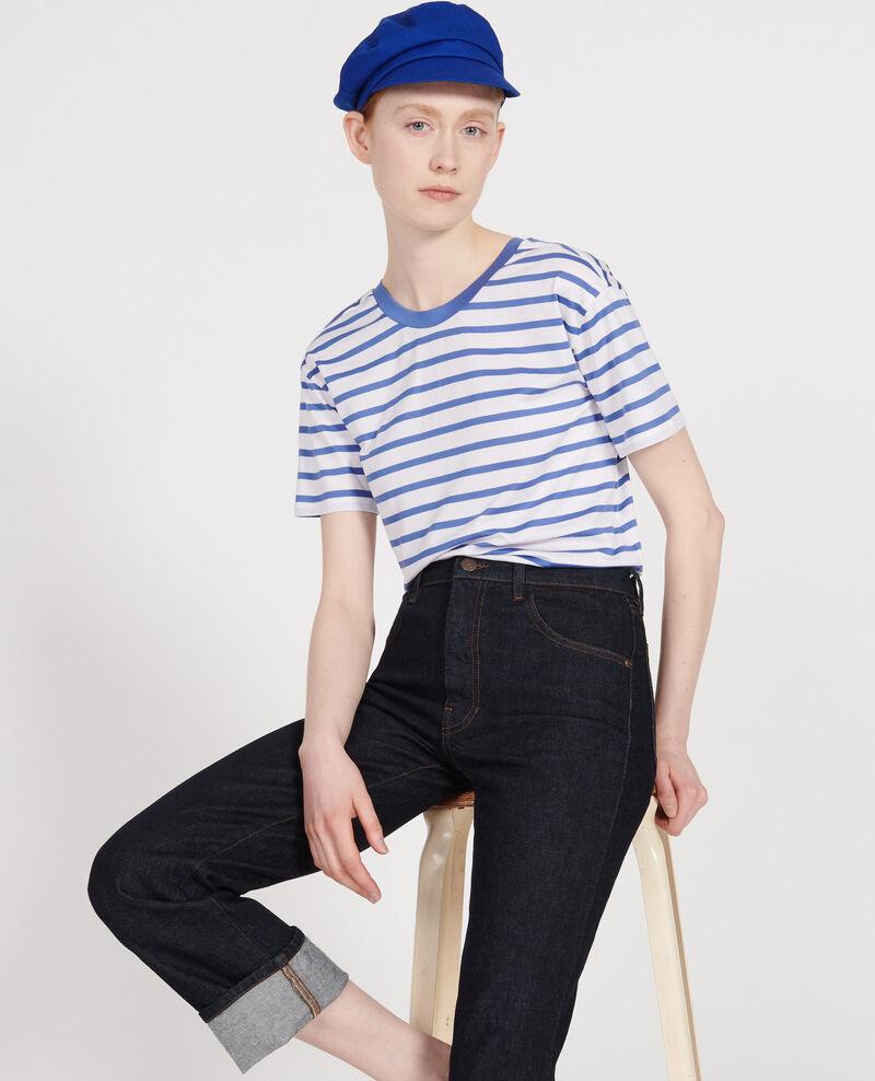 Camiseta de algodón egipcio Stripes optical white amparo blue Lisou