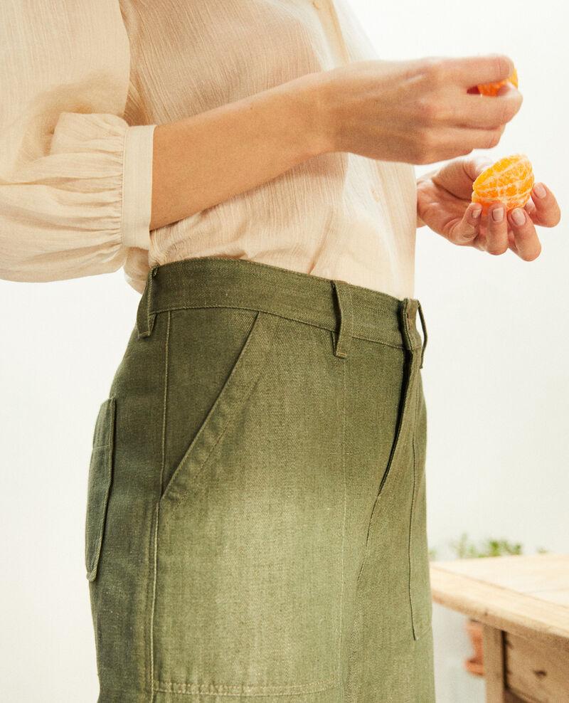 Pantalón con lino Cheng olive Ivox