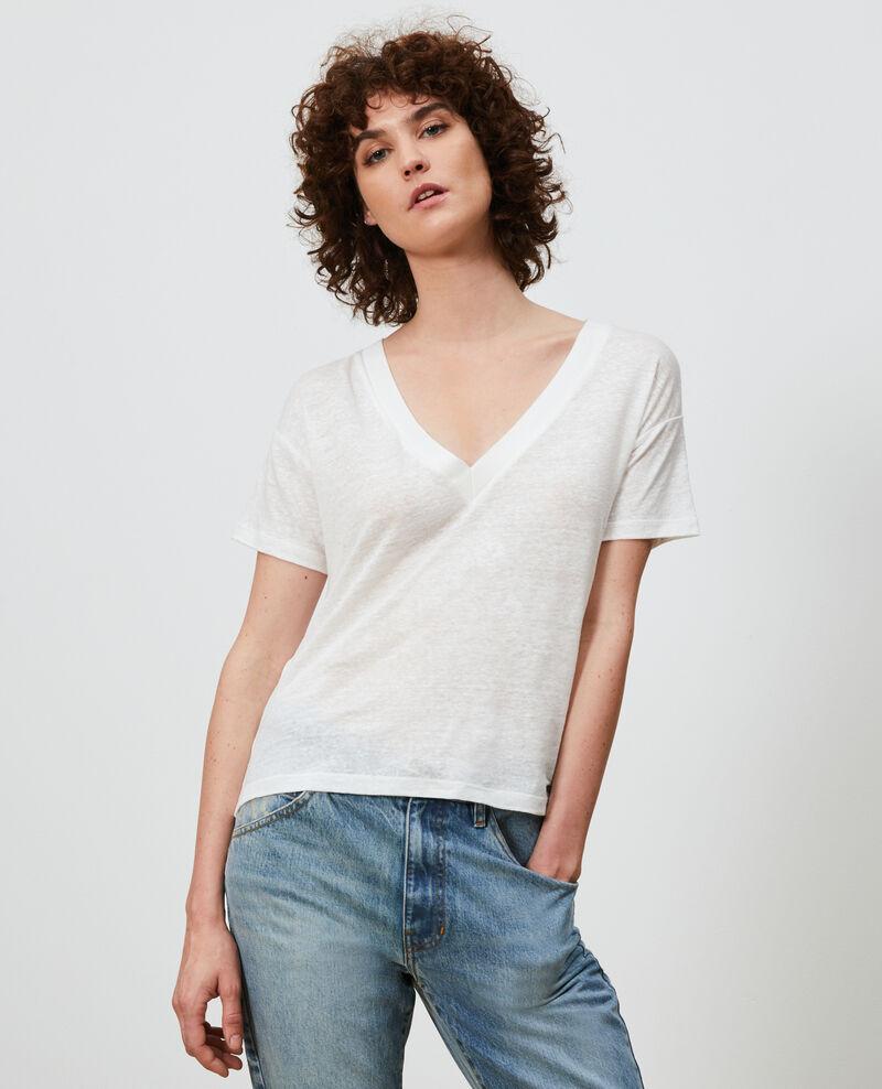 Camiseta de lino con cuello de pico Optical white Locmelar