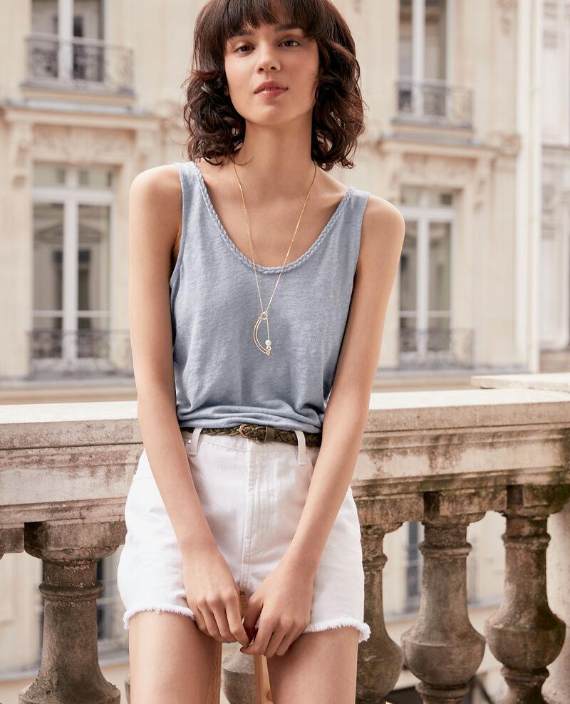 Camiseta de lino con tirantes Washed blue Fagou