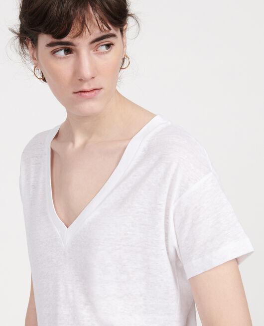 Camiseta de lino de jersey OPTICAL WHITE