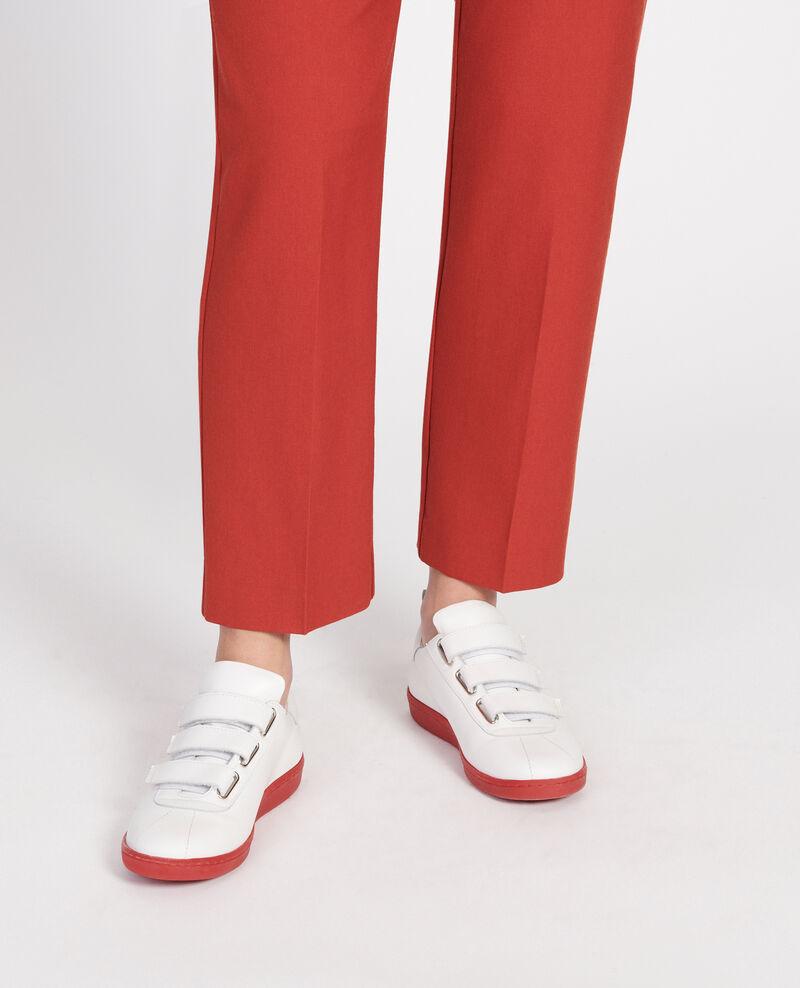 Sneakers de cuero con tiras de velcro White fiery red Leader