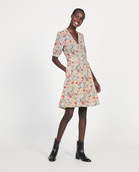 Vestido corto con escote cruzado de seda floral PRINT EDEN CREAM
