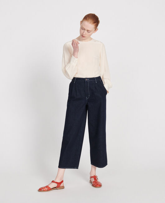 Jeans wide leg cropped en bruto DENIM RINSE