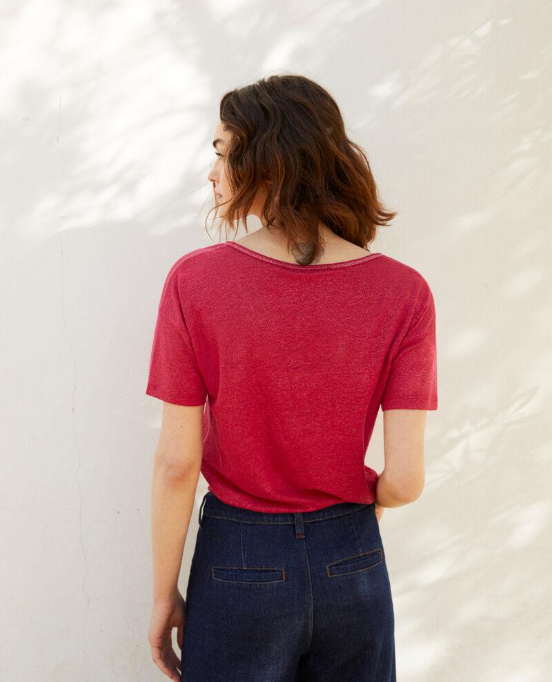 Camiseta efecto brillante de lino Fushia Imapou