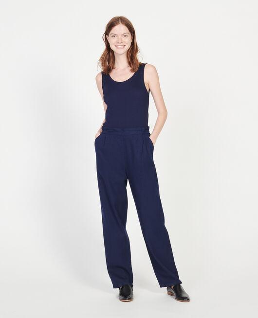 Pantalón con lino y algodón MARITIME BLUE