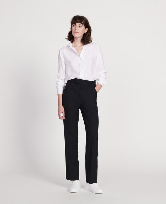 Pantalón recto de lana lisa BLACK BEAUTY