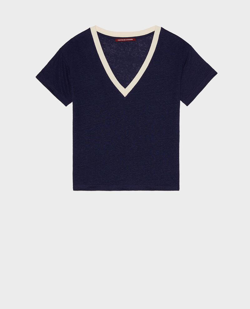 Camiseta de lino de jersey Stripes maritime blue buttercream Locmelar