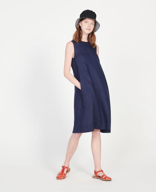 Vestido 100% de lino MARITIME BLUE