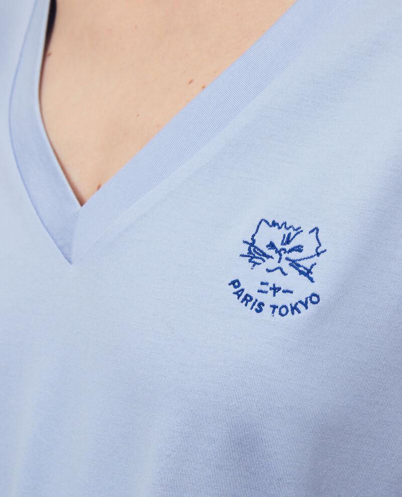 Camiseta bordada de algodón Blue heron Nagaoka