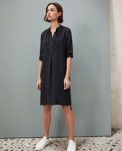 Comptoir des Cotonniers - Vestido de seda con pechera Noir - 1