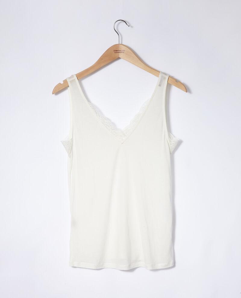 Camiseta de tirantes con encaje Off white Jaia