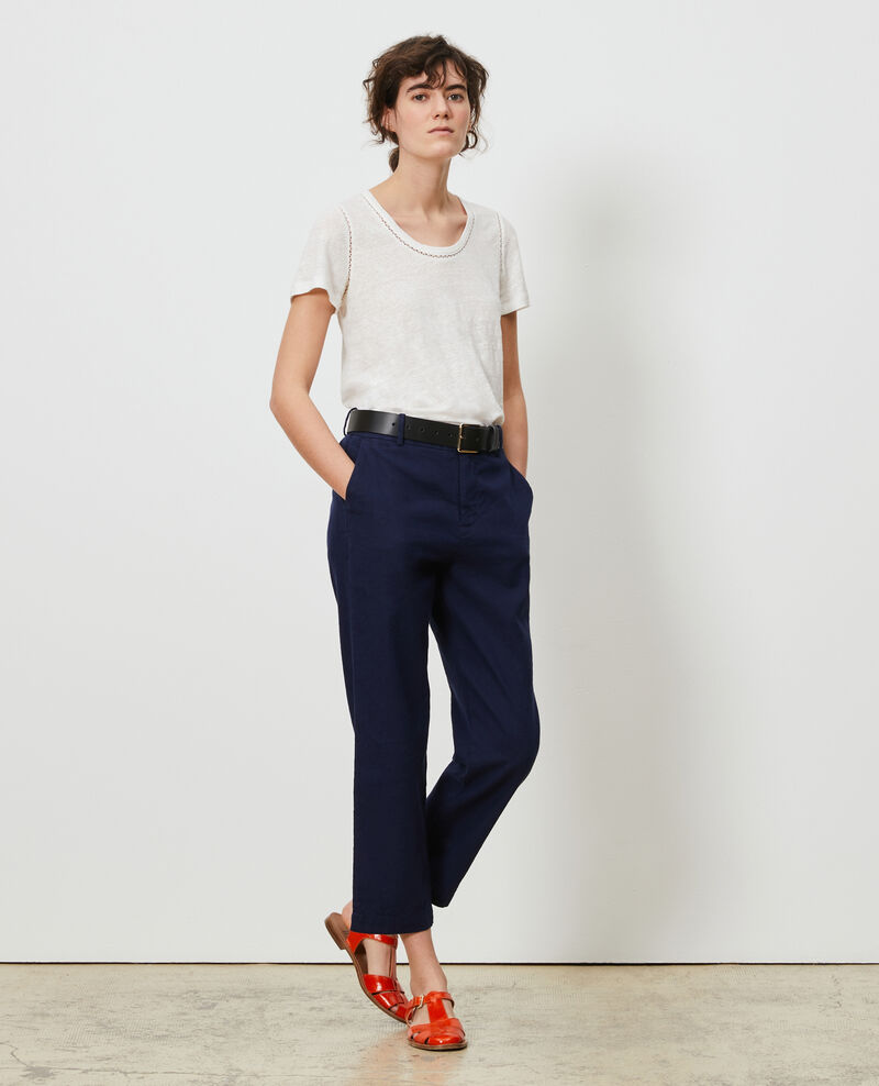 Pantalón MARGUERITE de lino y algodón con longitud 7/8 Maritime blue Laiguillon