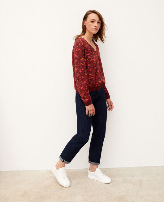 Blusa con escote de pico Rojo