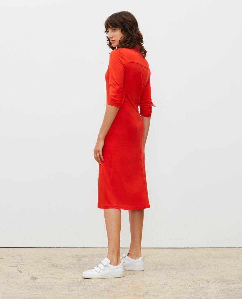 Vestido camisero de punto jersey de seda Fiery red Lulia