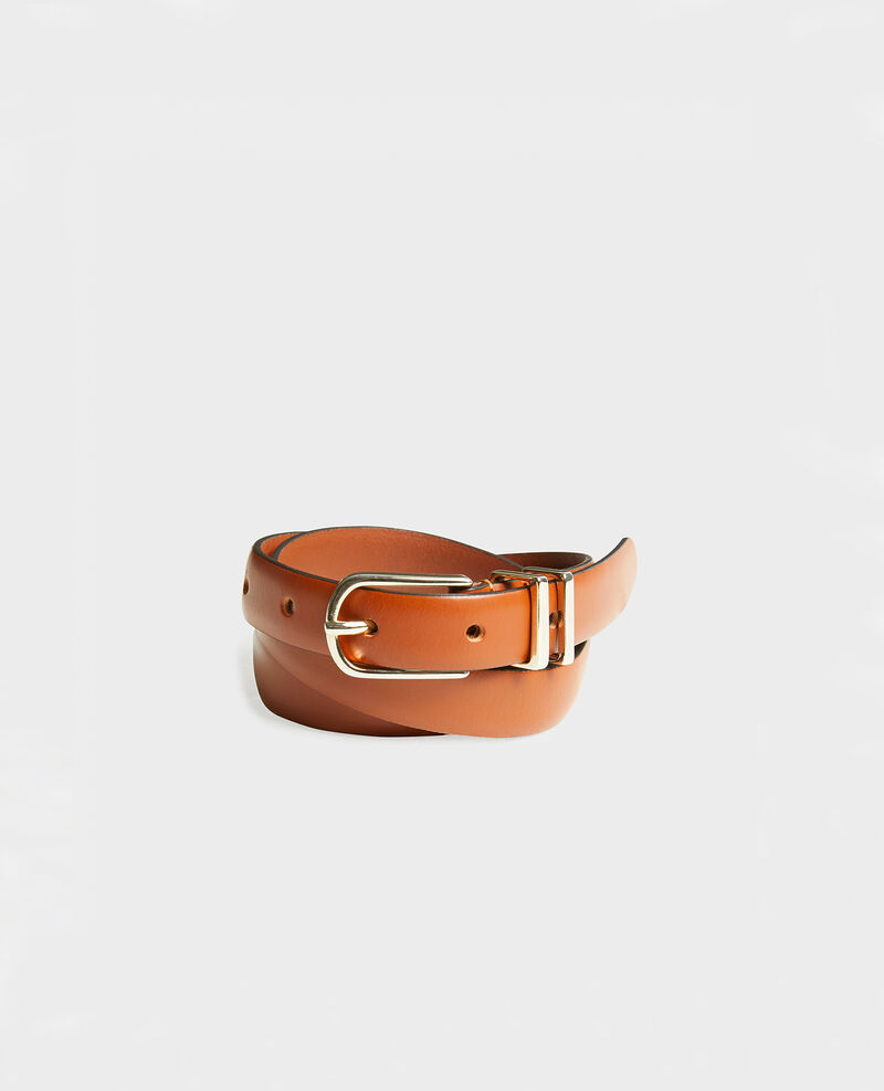Cinturón de cuero con hebilla y presillas de metal dorado Brandy brown Mendite