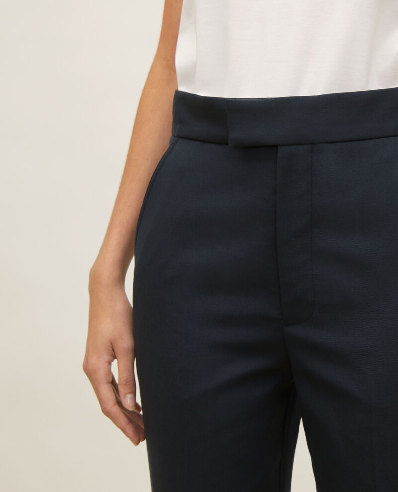 Pantalón recto de lana estilo masculino  Dark navy Lisabelle