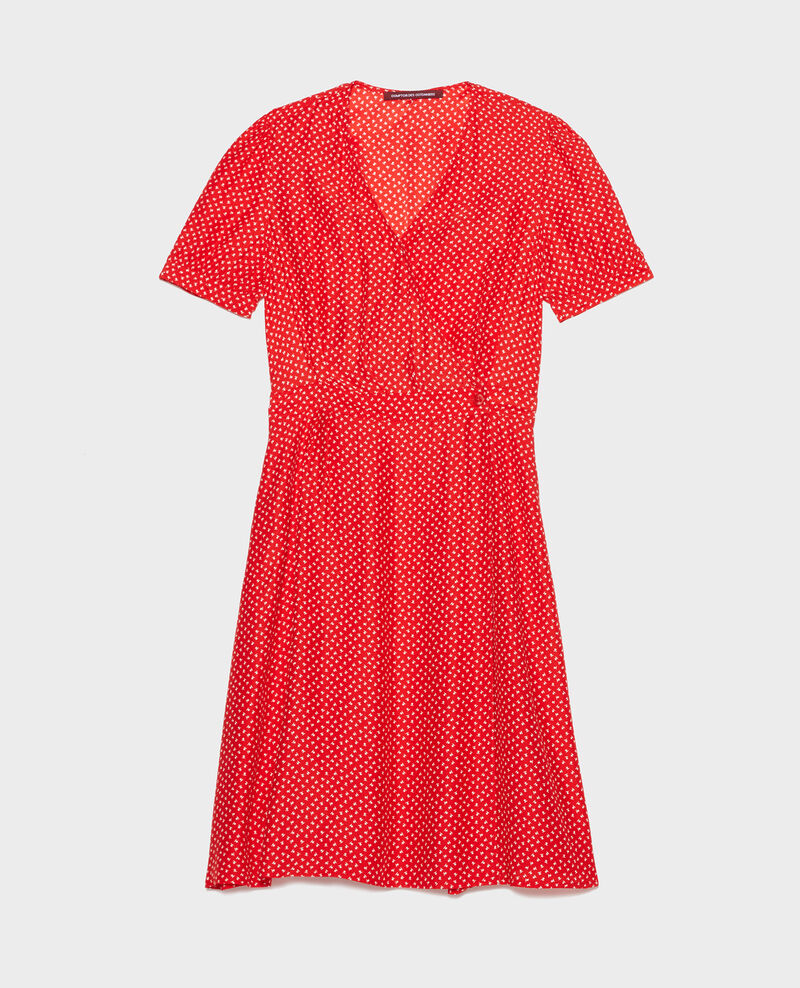Vestido de seda cruzado Memphis fiery red Leanie