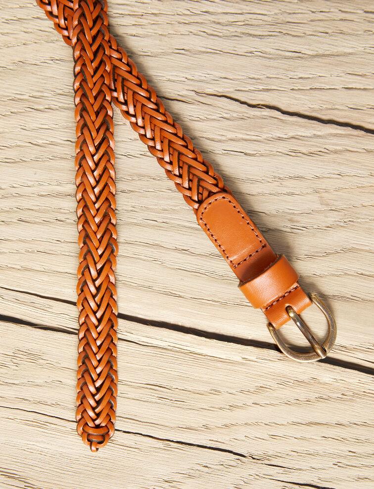 Cinturón trenzado de cuero talla pequeña Camel Ivobi