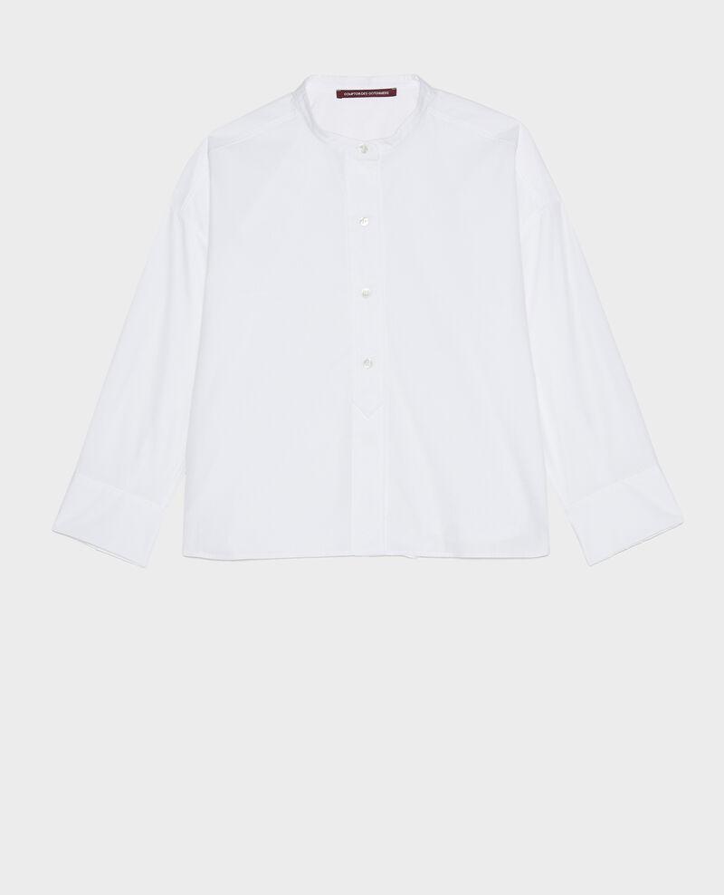 Camisa sin cuello de popelina de algodón. Optical white Lyringas