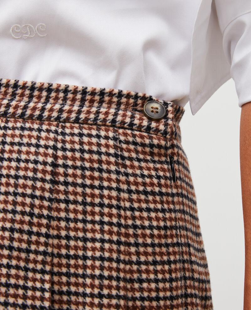Falda plisada de tweed de lana Check-wool-pattern-tailoring Mialos