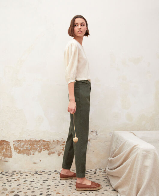 Pantalón con lino MILITARY GREEN