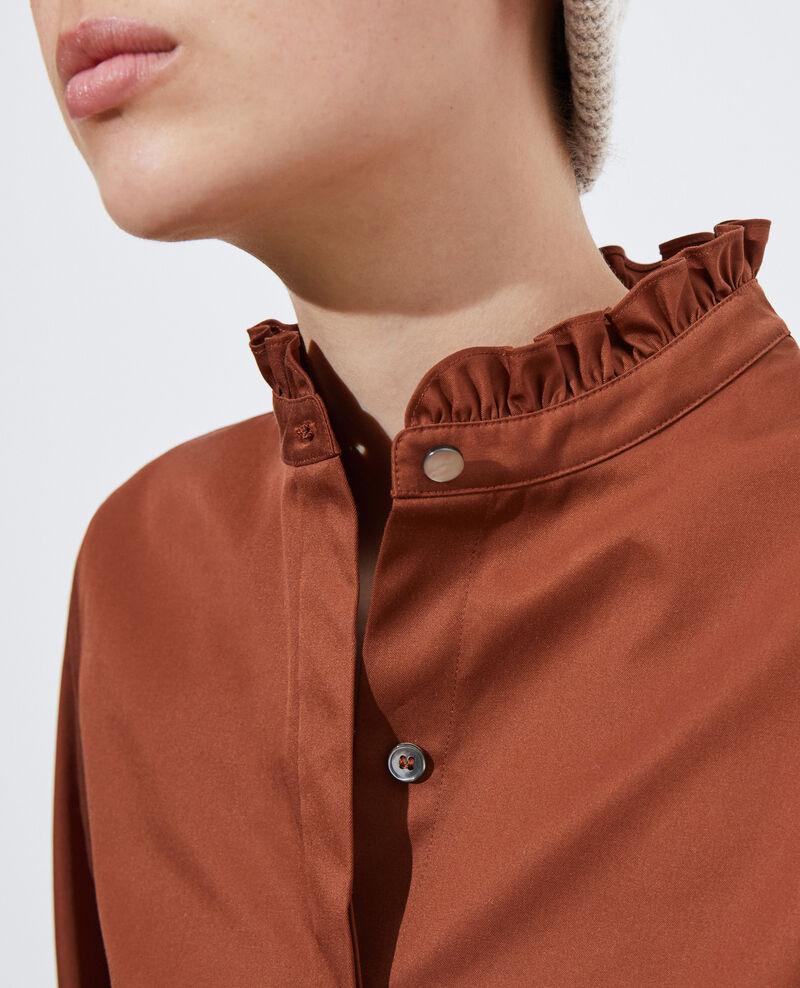 Camisa de algodón cuello subido con volante Tortoise shell Marcenat
