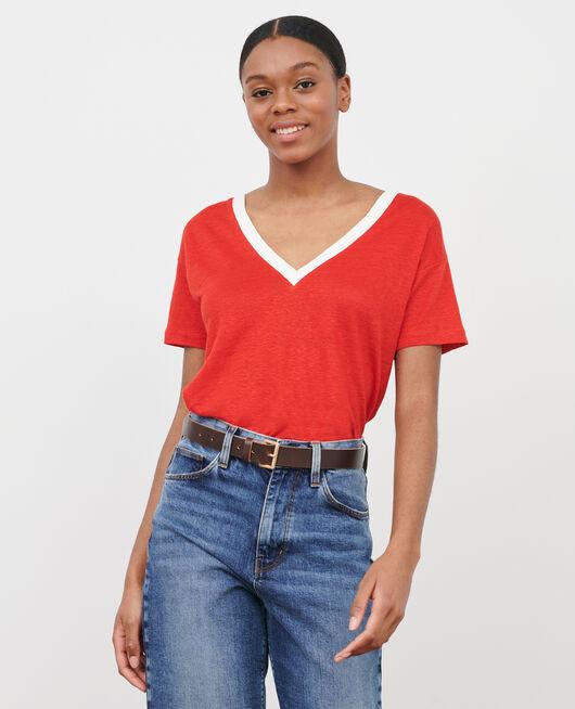 Camiseta de lino STRIPES FIERY RED GARDENIA