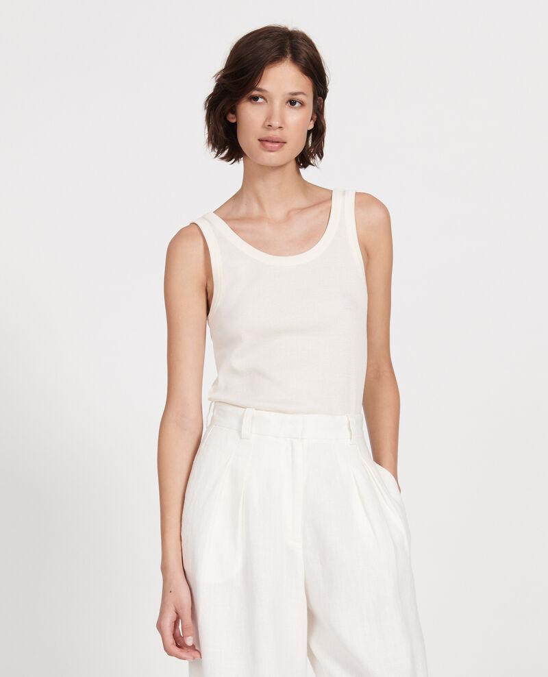 Camiseta de tirantes de algodón mercerizado con canalé Buttercream Locon