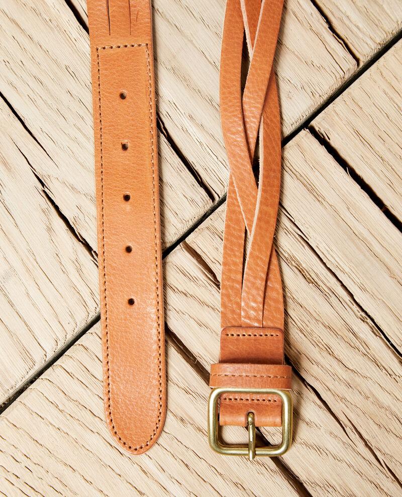 Cinturón trenzado de cuero Camel Inatte