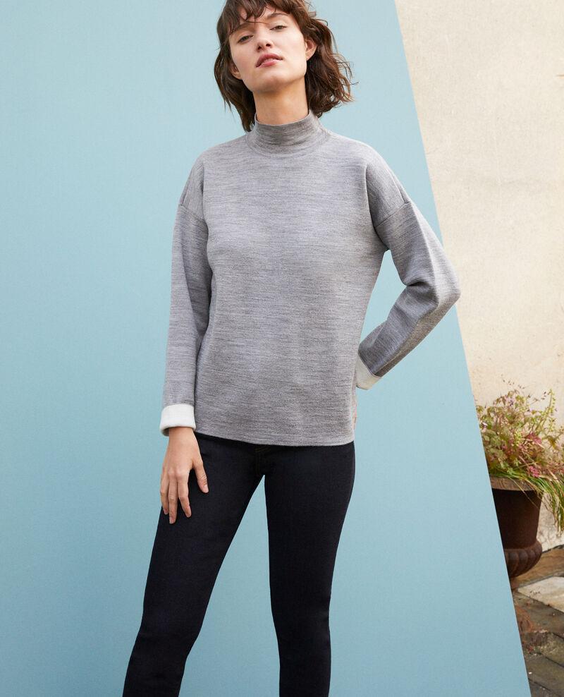 Jersey de doble cara de lana merino Light heather grey/off white Gibbon