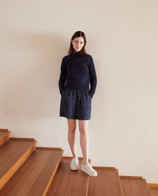 Falda corta estampada Azul