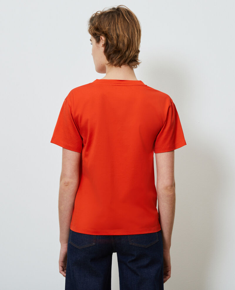 Camiseta de algodón con cuello de pico Spicy orange Laberne