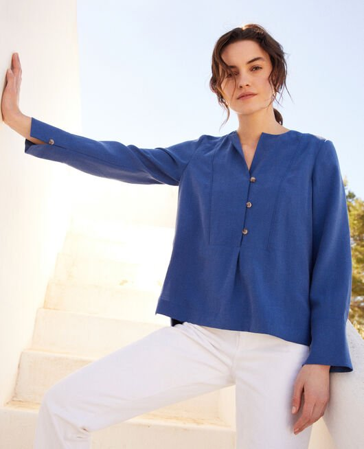 Blouse col tunisien IMPERIAL BLUE