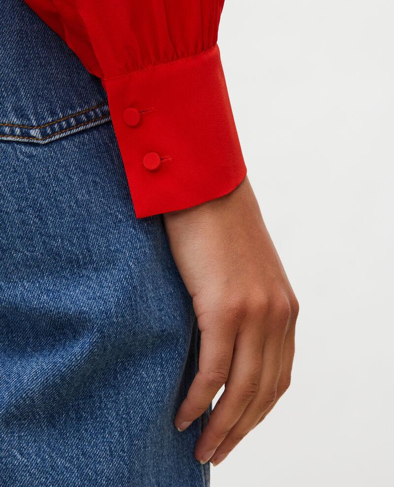Blusa bordada de seda Fiery red Lolape