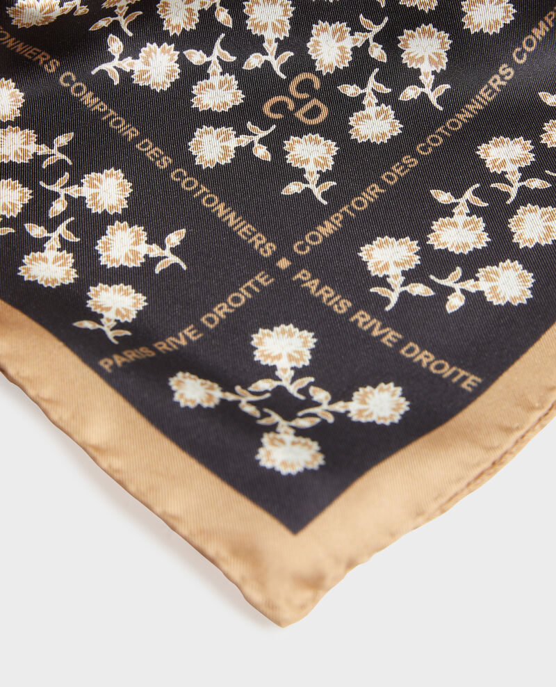 Foulard cuadrado de seda Black beauty Mediteranee