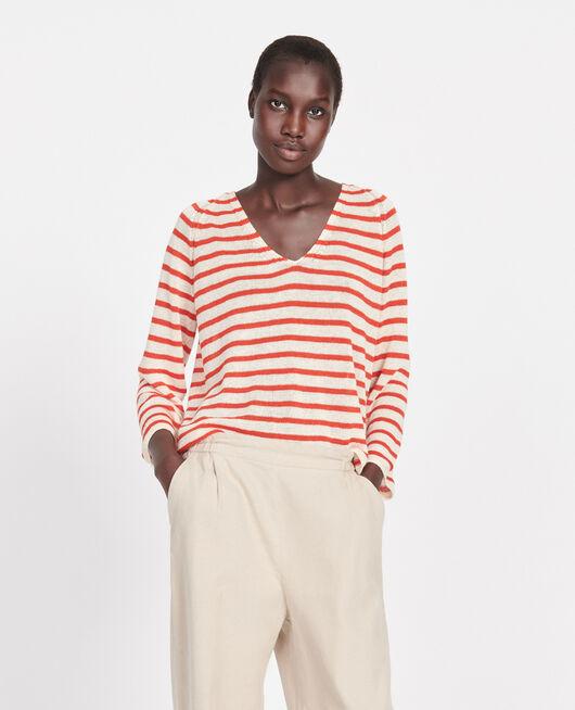 Camiseta de lino STRIPES BUTTERCREAM FIERY RED