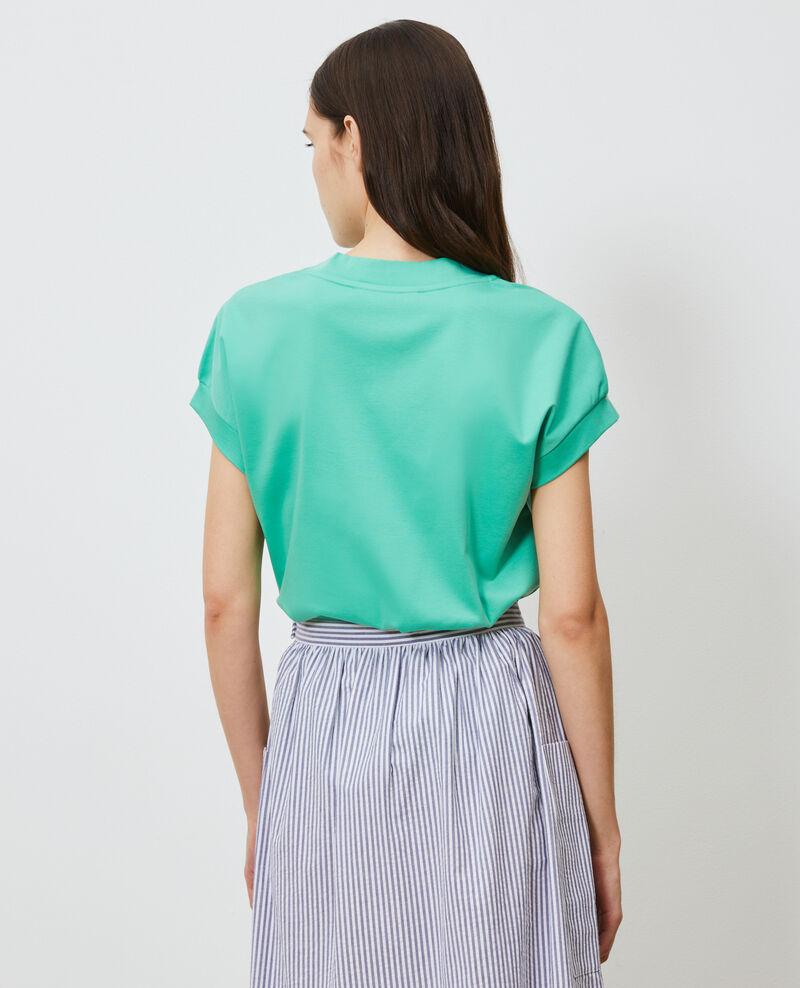 Camiseta de algodón bío con cuello de pico Jade cream Nohant