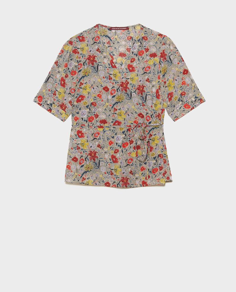 Blusa de seda motivo floral con escote cruzado Print eden cream Mirebeau