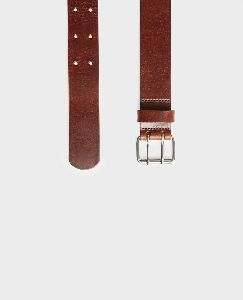 Cinturón de cuero con hebilla rectangular Coffee bean Megrit