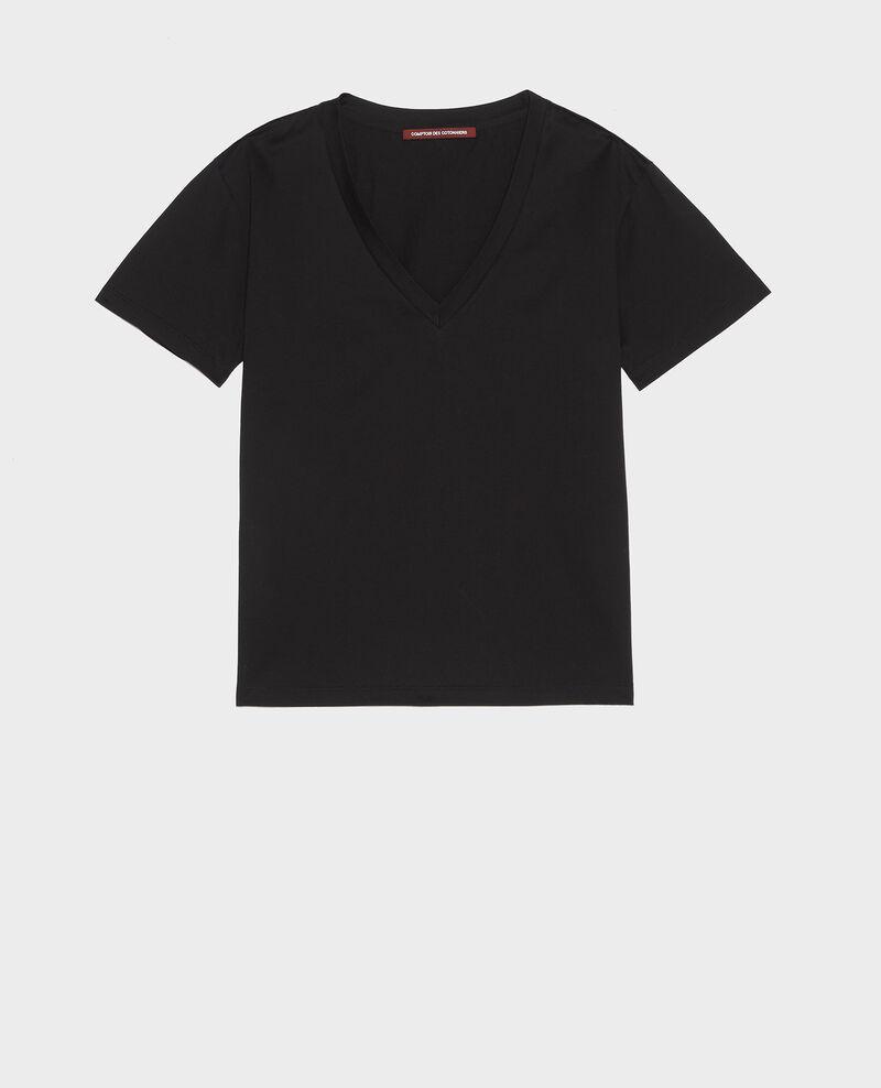 Camiseta de algodón con cuello de pico y manga corta Black beauty Laberne
